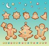 Pan de jengibre y la Navidad stock de ilustración
