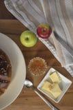 Pan de la acción de gracias con mantequilla y atasco Fotografía de archivo
