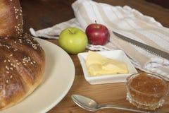 Pan de la acción de gracias con mantequilla y atasco Imagenes de archivo