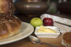 Pan de la acción de gracias con mantequilla y atasco Imagen de archivo
