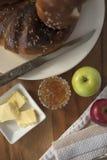 Pan de la acción de gracias con mantequilla y atasco Imagen de archivo libre de regalías