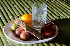 Pan de la carne al vidrio de vodka Imagen de archivo libre de regalías