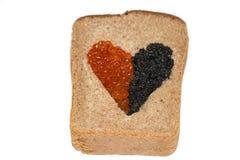 Pan de la comida con el caviar Fotografía de archivo