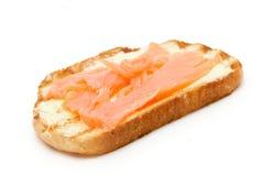 Pan de la tostada con los pescados Fotografía de archivo