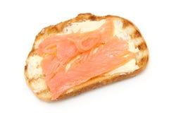 Pan de la tostada con los pescados Imagen de archivo