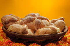 Pan de Muerto - Day of the Dead Bread. Sweet bread called (Pan de Muerto) enjoyed during Day of the Dead festivities in Mexico Stock Photography