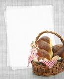 Pan de Pascua y tarjeta dulces de la receta Imagenes de archivo