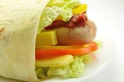 Pan de Pita en un flne blanco Imagenes de archivo