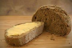 Pan de Rye untado con mantequilla Fotos de archivo libres de regalías