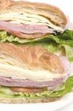 pan del croissant del emparedado del queso suizo del jamón Fotografía de archivo libre de regalías