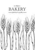 Pan del vintage del vector y ejemplo de la panadería Bandera dibujada mano libre illustration