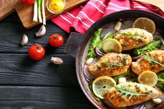 Pan with delicious chicken breasts Stock Images