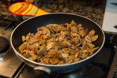 Pan with delicious roasted mushrooms.  Royalty Free Stock Photo