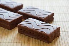 Pan di Spagna con cioccolato Fotografie Stock Libere da Diritti