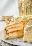 Pan di Spagna con l'inceppamento dell'albicocca Fotografie Stock Libere da Diritti