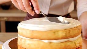 Pan di Spagna di riempimento della conduttura del cuoco unico di pasticceria di ricetta del dolce stock footage