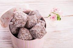 Pan di zenzero con cioccolato e la noce di cocco immagini stock libere da diritti