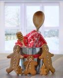Pan di zenzero con gli utensili di cottura Immagini Stock