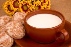 Pan di zenzero con latte Immagine Stock Libera da Diritti