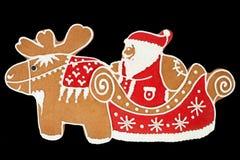 Pan di zenzero del Babbo Natale Fotografia Stock