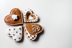 Pan di zenzero di Natale in forma di cuore Immagini Stock Libere da Diritti