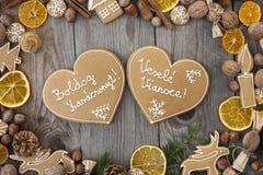 Pan di zenzero a forma di di Natale del cuore Immagini Stock