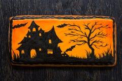 Pan di zenzero di Halloween con progettazione mistica Fotografia Stock Libera da Diritti