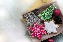 Pan di zenzero di Natale in contenitore di regalo immagine stock libera da diritti