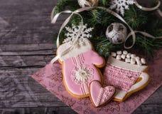 Pan di zenzero di Natale e ramoscello rosa dell'albero sui precedenti grigi Fotografia Stock
