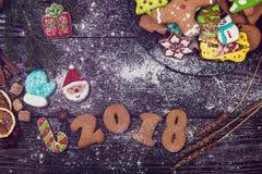 Pan di zenzero per i nuovi 2017 anni Immagine Stock