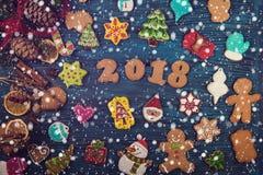Pan di zenzero per i nuovi 2017 anni Immagini Stock