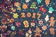 Pan di zenzero per i nuovi 2017 anni Fotografia Stock Libera da Diritti