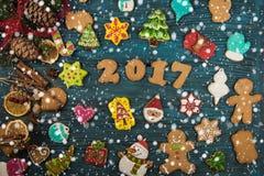 Pan di zenzero per i nuovi 2017 anni Fotografie Stock Libere da Diritti