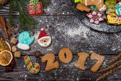 Pan di zenzero per i nuovi 2017 anni Immagine Stock Libera da Diritti