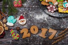 Pan di zenzero per i nuovi 2017 anni Fotografia Stock
