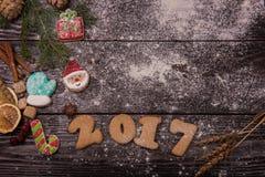 Pan di zenzero per i nuovi 2017 anni Immagini Stock Libere da Diritti