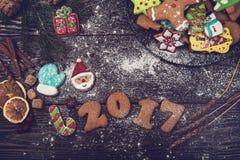 Pan di zenzero per i nuovi 2017 anni Fotografie Stock