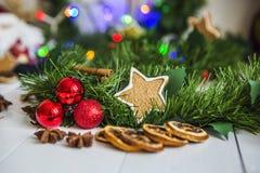 Pan di zenzero sotto forma di stelle, palle rosse di Natale, limoni secchi, cannella e ghirlanda e luci verdi Immagini Stock Libere da Diritti