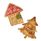 Pan di zenzero sulla casa e sull'albero di Natale isolati fondo bianco fotografia stock