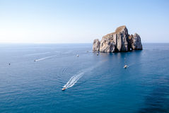 Pan di Zucchero (Nebida). A rocky island in the center of the se Stock Photography