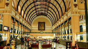 Pan down of the Central Post Office - Ho Chi Minh City (Saigon) Vietnam. Old Post Office in Saigon stock footage