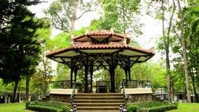 Pan Down   - Gazebo - Independence Palace - Ho Chi Minh City (Saigon) Vietnam. Former President Ngo Dinh Diem Residence during the Vietnam War stock footage