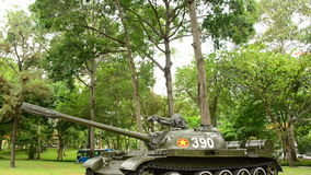 Pan Down - Russian Victory Tank  - Independence Palace - Ho Chi Minh City  Vietnam stock footage