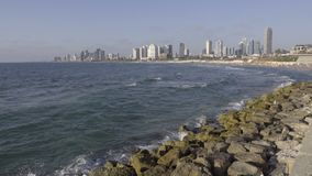 Pan to Tel Aviv on a summer day. Pan down to Tel Aviv on a bright summer day stock footage