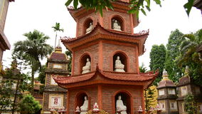 Pan Down / Tran Quoc Pagoda Temple in Hanoi Vietnam stock footage