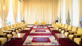 Pan Down  - Vice Presidents Reception Salon - Independence Palace - Ho Chi Minh City. Former President Ngo Dinh Diem Residence during the Vietnam War stock video footage