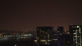 Pan downtown city lightning storm. Video of pan downtown city lightning storm stock video footage
