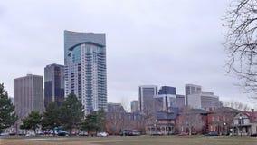 Pan of downtown Denver Colorado Stock Photo