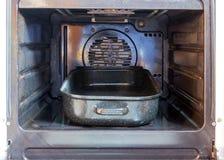 Pan in een open oven royalty-vrije stock fotografie
