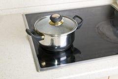 Pan on electric stove Stock Photo